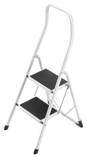Hailo 4312-001 Taburete de acero con 2 peldaños y estribo de seguridad extra alto de 50 cm, Blanco...