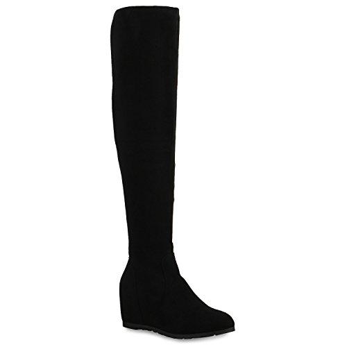 Keilstiefel Damen Stiefel Keil Absatz Leder-Optik Schuhe 124874 Schwarz 40 Flandell