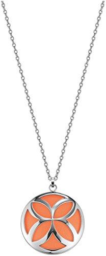 Esprit Damen Halskette Edelstahl rhodiniert Thriving Flora Caribian Coral 80 cm S.ESNL12456B800