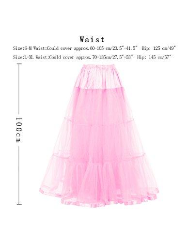 Dresstells Knöchellang Petticoat Reifrock Unterrock Underskirt Crinoline für Hochzeitskleider Pink