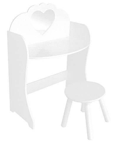 LibertyHouseToys Holz Schminktisch & Hocker-Set, Holz, Weiß (Pastell-breit-stuhl)