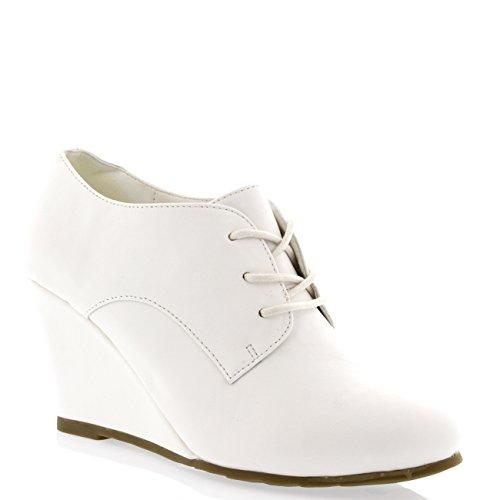 Damen Keilabsatz Schnürsenkel Abend Plattform Mary Jane Stiefeletten Weiß Nubuck