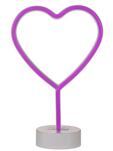Bada Bing LED Neonlicht Herz Heart Pink Neon Tischleuchte Dekolicht Stimmungslicht Leuchtreklame 87 - Tischleuchte Neon