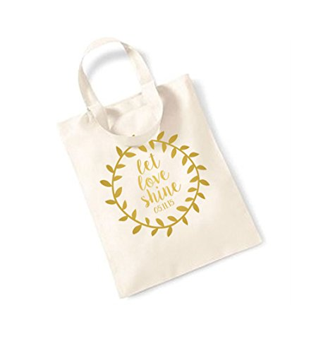 Let Love Shine - Wreath - Personalised Date - Small Canvas Fun Slogan Tote Bag Natural/Gold