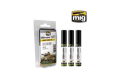 AMMO MIG-7502 Green Tones Oilbrushers Set, Multicolour -