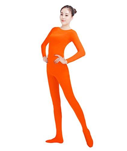 NiSeng Erwachsener und Kind Ganzkörperanzug Kostüm Lange Ärmel Bodysuit Kostüm Zentai Offene Bodysuit Kostüm Fluoreszierende Orange S -