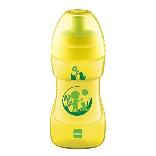 MAM Sports Cup (330 ml), auslaufsicherer Baby Trinkbecher mit selbstöffnendem Ventil, Kinder Trinkbecher mit rutschfester Greiffläche, ab 12+Monaten, Naturmotive, gelb -