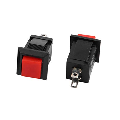 ZCHXD 2Pcs Momentary Action Square Red Push Button Switch AC 250V/2A 125V/4A