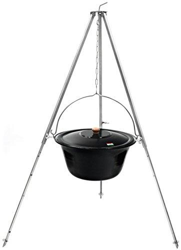 Original ungarischer Gulaschkessel 15 Liter | Dreibein-Gestell 130cm Teleskopgestell mit Gulasch-Topf, Suppentopf, Glühweintopf mit Deckel | Kesselgulasch Kochkessel im Set | Glühwein-Kessel