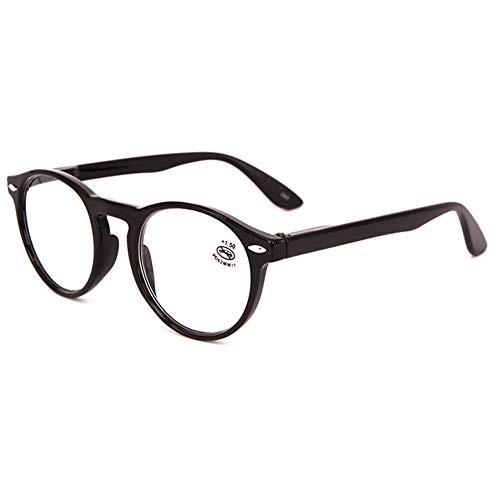 KOOSUFA Lesebrille Herren Damen Retro Runde Nerdbrille Lesehilfen Sehhilfe Federscharniere Vollrandbrille Anti Müdigkeit Brille mit Stärke 1.0 1.5 2.0 2.5 3.0 3.5 4.0 (Schwarz, 1.5)