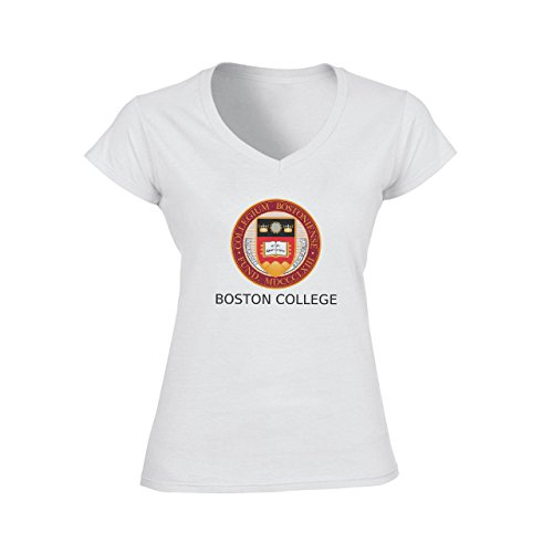 Boston College Logo Damen V-Neck T-Shirt Weiß