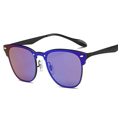 Yangjing-hl Herren Classic Siamese Sonnenbrillen Fashion Rivet Zubehör Brillen Gesicht Sonnenbrillen Gold Frame Dark Blue