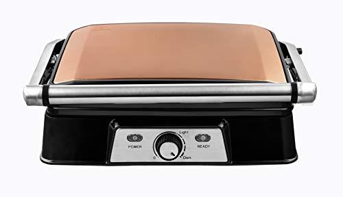 Venga! VG COG 3050 Panini-Maker/Sandwichmaker - 2000W, Edelstahl, Kunststoff, Aluminiumguss, Kupfer