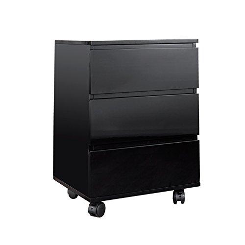 Moderner Rollcontainer BIG DEAL Hochglanz schwarz 3 Schubladen Aufbewahrung