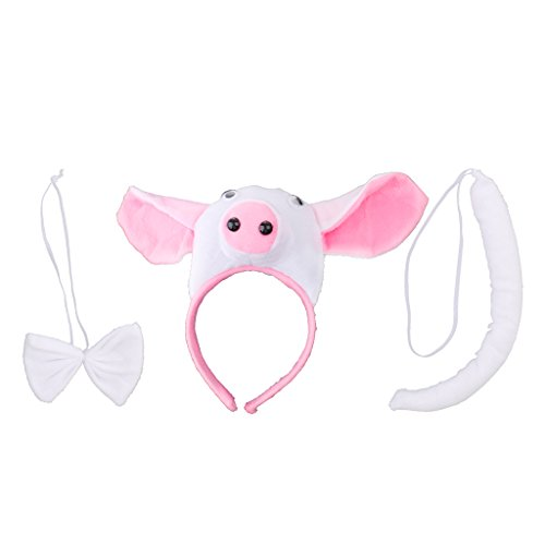 Gazechimp Tier Kostüm Schwein Piggy Ohren Stirnband Schwanz und Schleife für Kinder Party/Halloween/Weihnachten Party - Weiß, 3pcs/set (Schwein Kostüm Tier Kit)