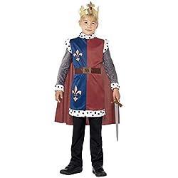 Smiffy's Smiffys-44079L Disfraz Medieval del Rey Arturo, con túnica, Capa y Corona, Color Rojo, L-Edad 10-12 años 44079L