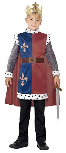 Smiffys Kinder King Arthur Kostüm, Mittelalterliche Tunika mit angebrachtem Umhang und Krone, Größe: S, 44079