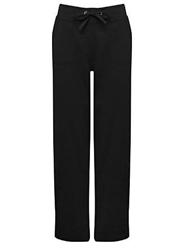 M&Co Ladies Plain Lightweight Full Length Drawstring Tie Waist Wide