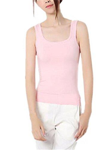 Haililais Vest Femme Top sans Manches Débardeur T-Shirt Blouses Couleur Unie Gilet Femme Col Rond Bodycon T-Shirt Sexy Tunique Tunique pink