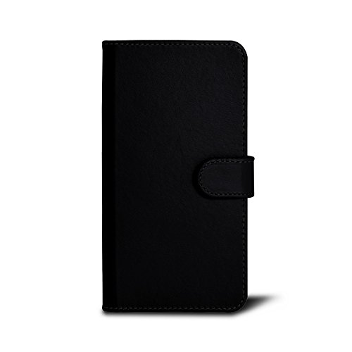 Lucrin - iPhone 6 Plus-Hülle im Brieftaschenformat - Azurblau - Glattleder Schwarz