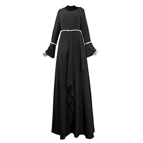 Haodasi Musulman Femme Vêtements Kaftan Abaya Islam Malaysia Maxi Dress Arab Robe Black