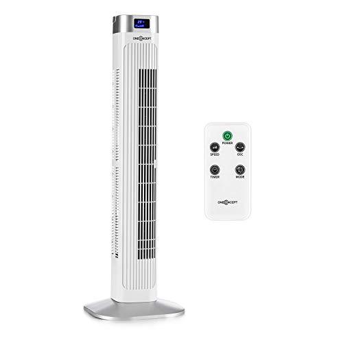 oneConcept Hightower 2G Säulenventilator Standventilator Turmventilator (3 Geschwindigkeiten, 50 Watt, 3 Modi: Normal + Nacht + Natur, Oszillation, Timer, Fernbedienung) weiß