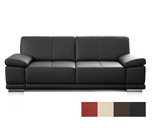 CAVADORE 3,5-Sitzer Ledersofa Corianne/Großes Sofa im Echtlederbezug und modernem Design/Mit verstellbaren Armlehnen/Größe: 248 x 80 x 99 (BxHxT)/Bezug: Echtleder schwarz (Sofa 2-sitzer Großes)