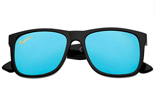 Capraia Rovello Classic Sunglasses Ultra Light High Quality TR90 Sportive Black Frame and Blue Mirrored Polarised Lenses UV400 protected for Men