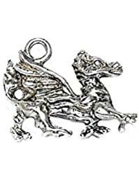 RETRO CHARMS: Vintage Finished Sterling Silver 925 Mythical Dragon Charm V216