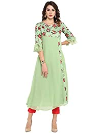 Janasya Women's Light Green Poly Crepe Kurta (JNE3368-KR)