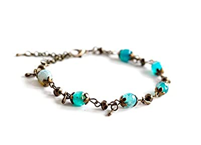 Bracelet Pierre Naturelle, Agate bleu turquoise, bronze, faits mains, bijoux pour femme