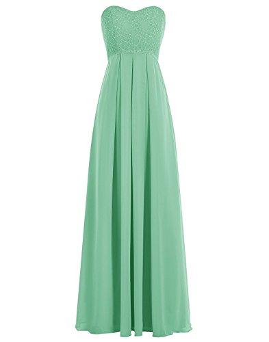BetterGirl elegant Chiffon lange Spitze Abendkleid Brautjunfer Kleid-Grün-42 Brautjungfernkleider Pastell