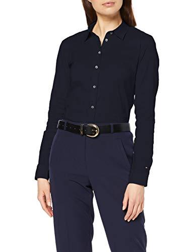 Tommy Hilfiger Damen Heritage Slim FIT Shirt Bluse, Blau (Midnight 403), 40 (Herstellergröße: 10)