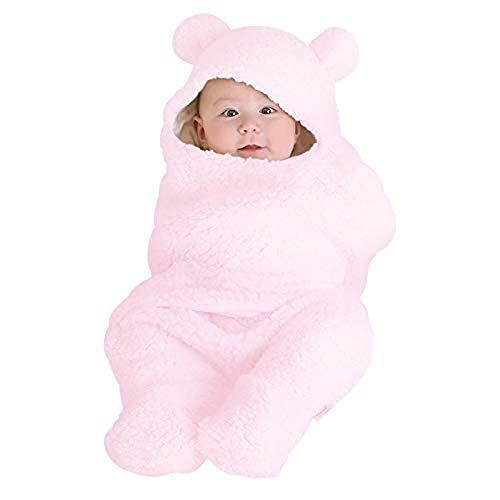 Anmain sacco a pelo neonato, bambino sacco a pelo di lana, morbido e comodo, bambino sleep bags per la nanna, per autunno e inverno (rosa)