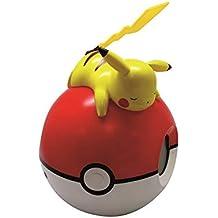 Teknofun Pokemon - Lámpara con reloj digital y radio, color rojo y blanco
