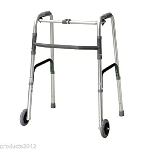 D PRO T Zimmer Walker Frame with Wheels, Folding Lightweight Mobility Walking Aid.