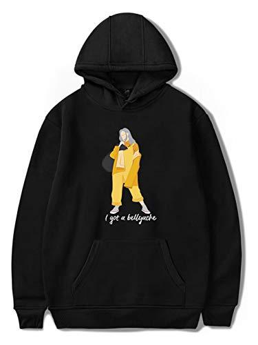 SIMYJOY Unisex Instagram Billie Eilish Großbuchstaben Druck Pullover lockeres Casuales Hoodie Hiphop Street Fashion Oversize Sweatshirt für Männer Frauen Jugendlichen