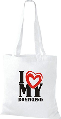 ShirtInStyle Shopper Valentinstag I Love My Boyfriend weiss