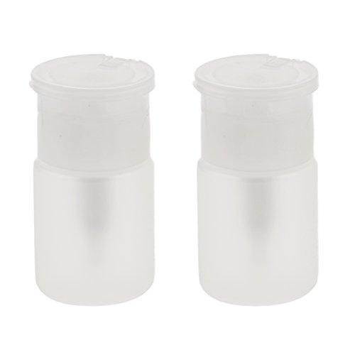MagiDeal 2x60ml Plastique Bouteille à Pompe Vide à Stockage Distributeur Liquide Dissolvant de Vernis à Ongles