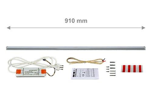 LED MADE IN EUROPE Lampada Led Touch Dimmer Mod. Variant 90cm, 14.4W, 994lm, luce fredda 5700K, con alimentatore ultrasottile, luminosità regolabile su 1000 livelli digitali o in modo continuo. Corpo in alluminio anodizzato spessore 1 mm.
