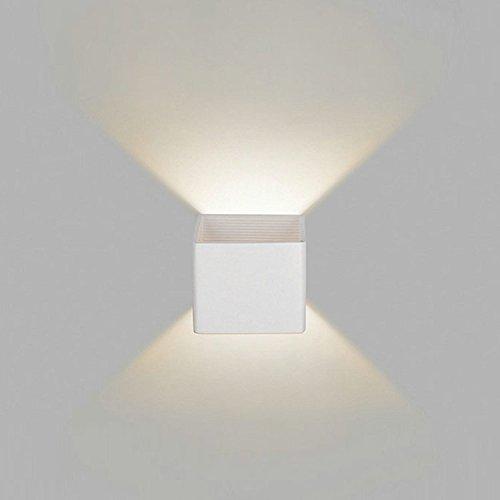 SJMM AC110-265V3W LED Lampe an der Wand im Innenbereich Aufputz Cube LED-Wand Licht nach oben und unten an der Wand Leuchte Innenbeleuchtung Lampe Halter wx474, Weiß, Warmweiß (2700-3500K)(#JD-0512)