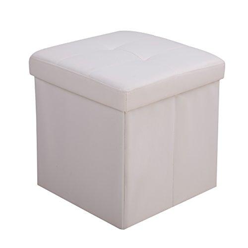 Galleria fotografica CCLIFE Pouf Puff Poggiapiedi Sgabello Contenitore Cassapanca pieghevole 42 x 42 x 42 cm, Colore:Bianco