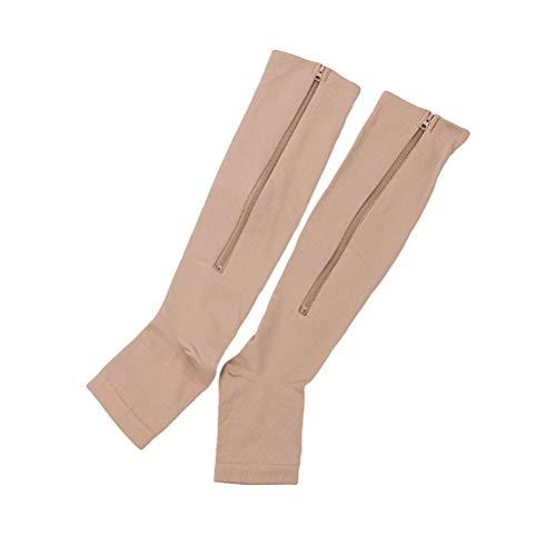 SUPVOX 1 Paar Reißverschluss Wadenstrümpfe Beinlinge Waden Kompressionsstrümpfe Kompressionssocken für Damen Herren Sport Joggen Schwangerschaft Krankenpflege Medizinische Bein Socken (Khaki, L/XL)