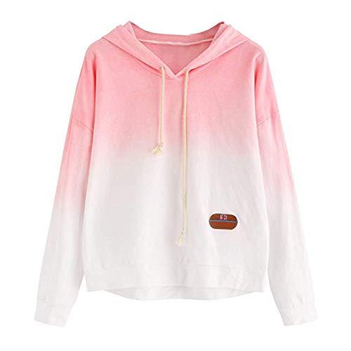 Damen Farbverlauf Hoodie Bunte MYMYG Tie Dye Crop Tops Schöne Rundhals Sweatshirts Bluse Gedruckt Patchwork Pullover Elegante Hemden Langarm Blusen Tuniken Mode Kostüm mit Kapuze(X1-Pink,EU:40/CN-XL)