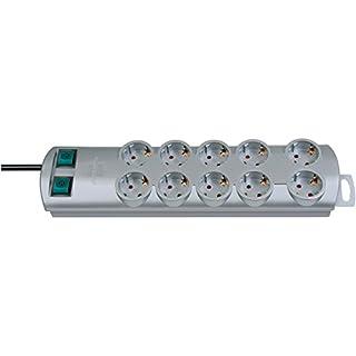 Brennenstuhl Primera-Line, Steckdosenleiste 10-fach (Steckerleiste mit 2 Schaltern für je 5 Steckdosen und 2m Kabel) Farbe: Silber