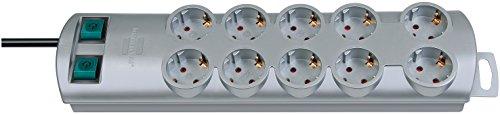 Brennenstuhl Primera-Line, Steckdosenleiste 10-fach (Steckerleiste mit 2 Schaltern für je 5 Steckdosen und 2m Kabel) Farbe: Silber - Fußschalter-leiste
