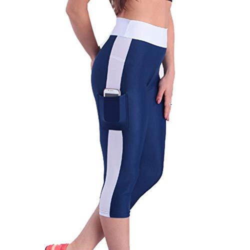 ggings Gamaschen Solid Patchwork Side Streifen Gestreift Joggers Dünn Skinny Stretch Workout Laufhose Kurze Hose Shorts Sport Hose Yoga Hosen (M,Marine & Sahne) ()