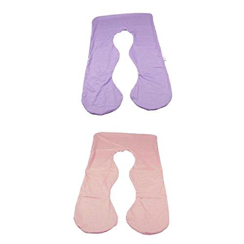 LOVIVER 2 Stü U Form Körper Kissenbezug Abnehmbarer Abnehmbarer Bezug Für Schwangerschaft Mutterschaft Passt 46''L X 26''W U Förmigen Kissen - Pink und lila - Körper Kissen Kissenbezug