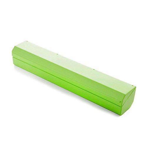 AOLVO alimentos frescura Wraptastic Dispensador conservante Lámina de película para relajarse corte Cling wrap accesorios de cocina–fácil de usar Wrap Dispener, sólo Pull, prensa, corte y Wrap, Verde, Large Size