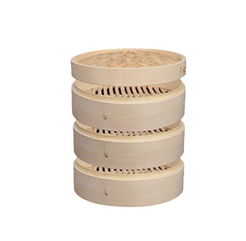 Set da cucina a vapore in bambù naturale nan 1-3 strati, molto adatto alla cucina asiatica,3+1,25.4cm/10.03inch